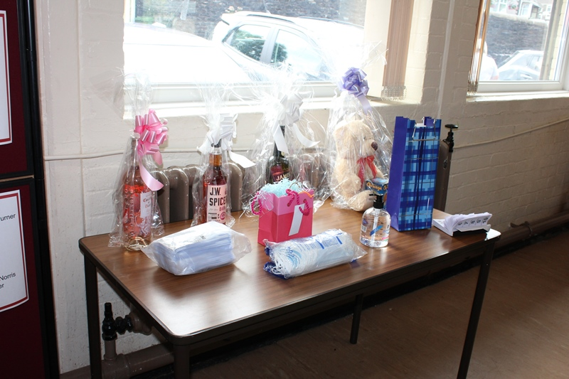 Raffle prizes kindly donated by Tesco in our Members Only Afternoon Tea in Darrenlas